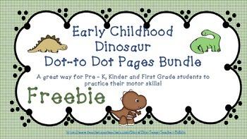 Early Childhood Dino Dot to Dot Packet Freebie