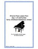 Private Piano Early Childhood/Elementary Piano Lesson Plan Day 1