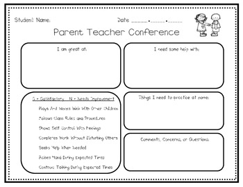 Early childhood parent teacher conference form tpt for Parent teacher meeting report template