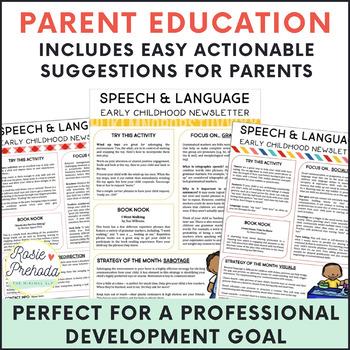 EI & Preschool Monthly Speech/Language Newsletter for Parents