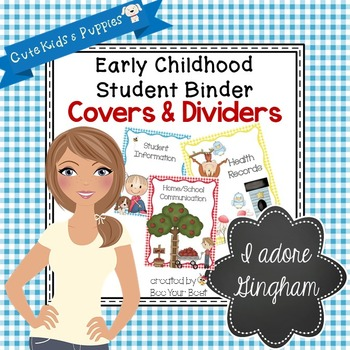 Early Childhood Student Binder COVERS & DIVIDERS with Cute Kids and Puppies