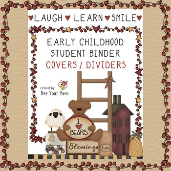 Early Childhood Student Binder COVER & DIVIDERS in Primitive Country