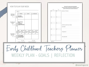 picture relating to Planner Pdf named Early Childhood Instructor Planner (Undated) Printable PDF