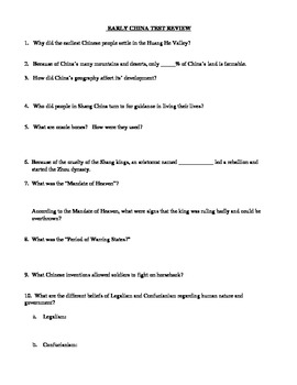 Early China Test Review