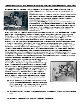 Civil Rights Movement in Oklahoma - Ada Lois Sipuel Fisher and George McLaurin