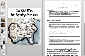 Early Civil War Battles and Emancipation ProclamationPowerpoint AND Worksheet