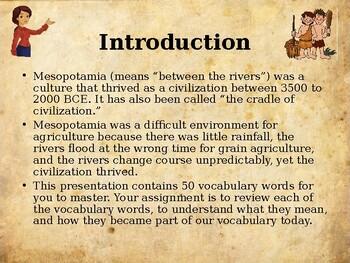 Ancient Civilizations – Mesopotamia - Vocabulary Exercise