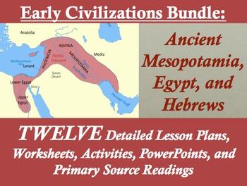 Early Civilizations Unit Bundle: Mesopotamia, Egypt, and Hebrews; 88 pages!