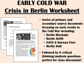 Early Cold War - Crisis in Berlin worksheet - Global/World/US History