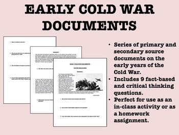 Early Cold War Documents - US/Global/World History/APUSH