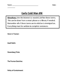 Early Cold War- JFK Homework Definitions