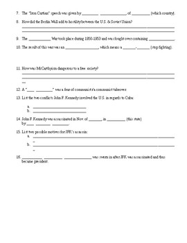 Early Cold War Review Sheet