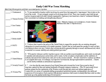 Early Cold War Terms Matching