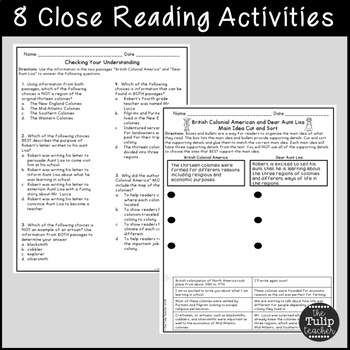 Early Colonial Life Reading Comprehension Paired Passages