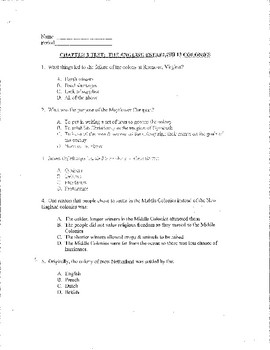 Early Colonies - Creating America Chapter #3 Study Guide, Test, and Answer Key