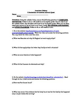 Early Colonization Webquest