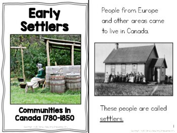 Early Communities in Canada 1780-1850- Easy Readers & Activities for IEPs