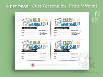Early Dismissal Note | Note for Teacher | School Excuse Note - Editable PDF