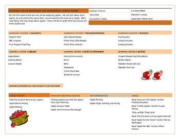 Early Education Lesson Plan September- Toddler Room