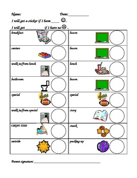 Early Elementary Behavior Chart