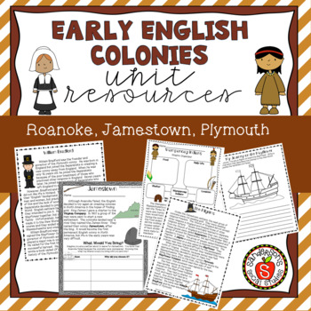 Early English Colonies - Roanoke, Jamestown, Plymouth: Worksheets & Activities