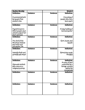 Early English Colonies Vocabulary Foldable: Studies Weekly 8
