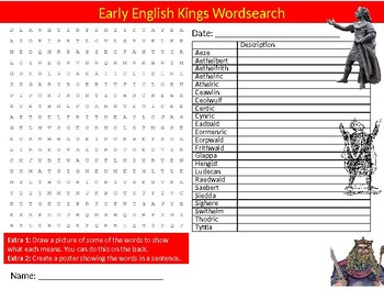 Early English Kings Wordsearch Sheet Starter Activity Keywords British History