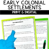Early Colonial Settlements Jamestown, Roanoke, Plymouth Nonfiction Worksheets