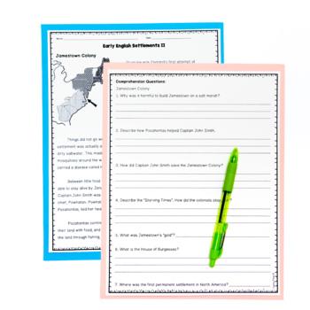 Early Colonial Settlements Jamestown Roanoke Plymouth Reading Worksheets