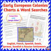 Early European Colonies in America: Charts for Reading & Writing, Word Searches