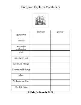 Early European Explorer Instructional Resource Packet
