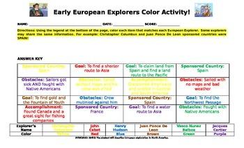 Early European Explorers Color Activity Sheet....Legal Paper 8.5 x 14