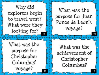 Early European Explorers Task Cards