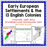 Early European Settlements & 13 English Colonies Poster, Interactive Notebook