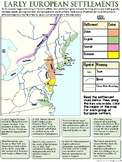 Early European Settlers Map Worksheet