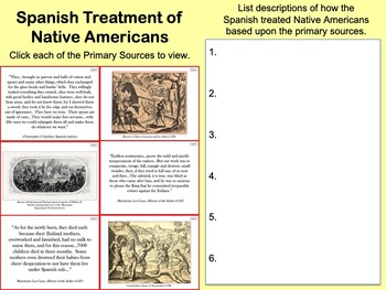 European Treatment of Native Americans using Primary Sources