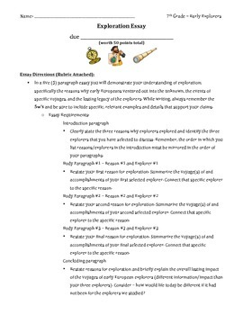 Early Explorer Essay and Rubric
