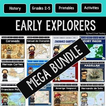 Early Explorers BUNDLE: Magellan, Vespucci, Cortes, Champlain, Columbus, Balboa