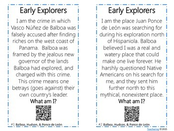 Early Explorers Task Cards with QR Codes {Balboa, Hudson, Ponce de Leon}