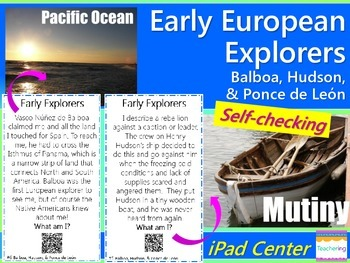 Early Explorers Task Cards with QR Codes {Balboa, Hudson,