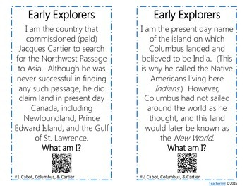 Early Explorers Task Cards with QR Codes {Cabot, Columbus, & Cartier}