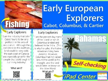 Early Explorers Task Cards with QR Codes {Cabot, Columbu