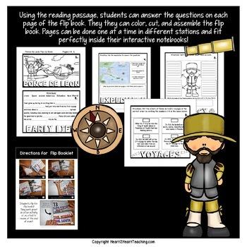 Early Explorers: Juan Ponce de León Mini-Unit & Flip Book for INB's