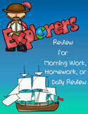 Early Explorers Review for Morning Work, Homework, or Class Work