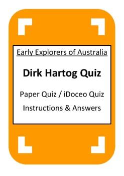Dirk Hartog Quiz - iDoceo Grade Scanner - Early Explorers of Australia