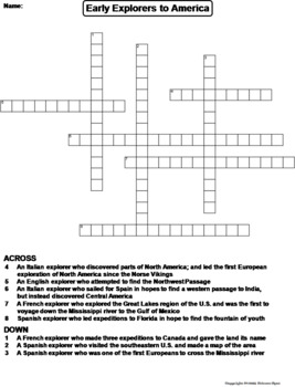 Early Explorers to America Worksheet/ Crossword Puzzle