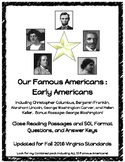 Early Famous Americans : Close Reading Passages