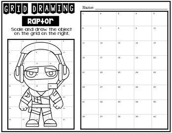 Early Finisher Activity - Fortnite RAPTOR Grid Drawing