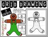 GINGERBREAD BOY Grid Drawing - NO PREP