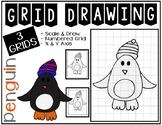 Early Finisher Activity - Winter PENGUIN Grid Drawing